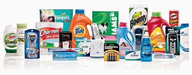 Ett antal av Procter and Gambles alla produkter