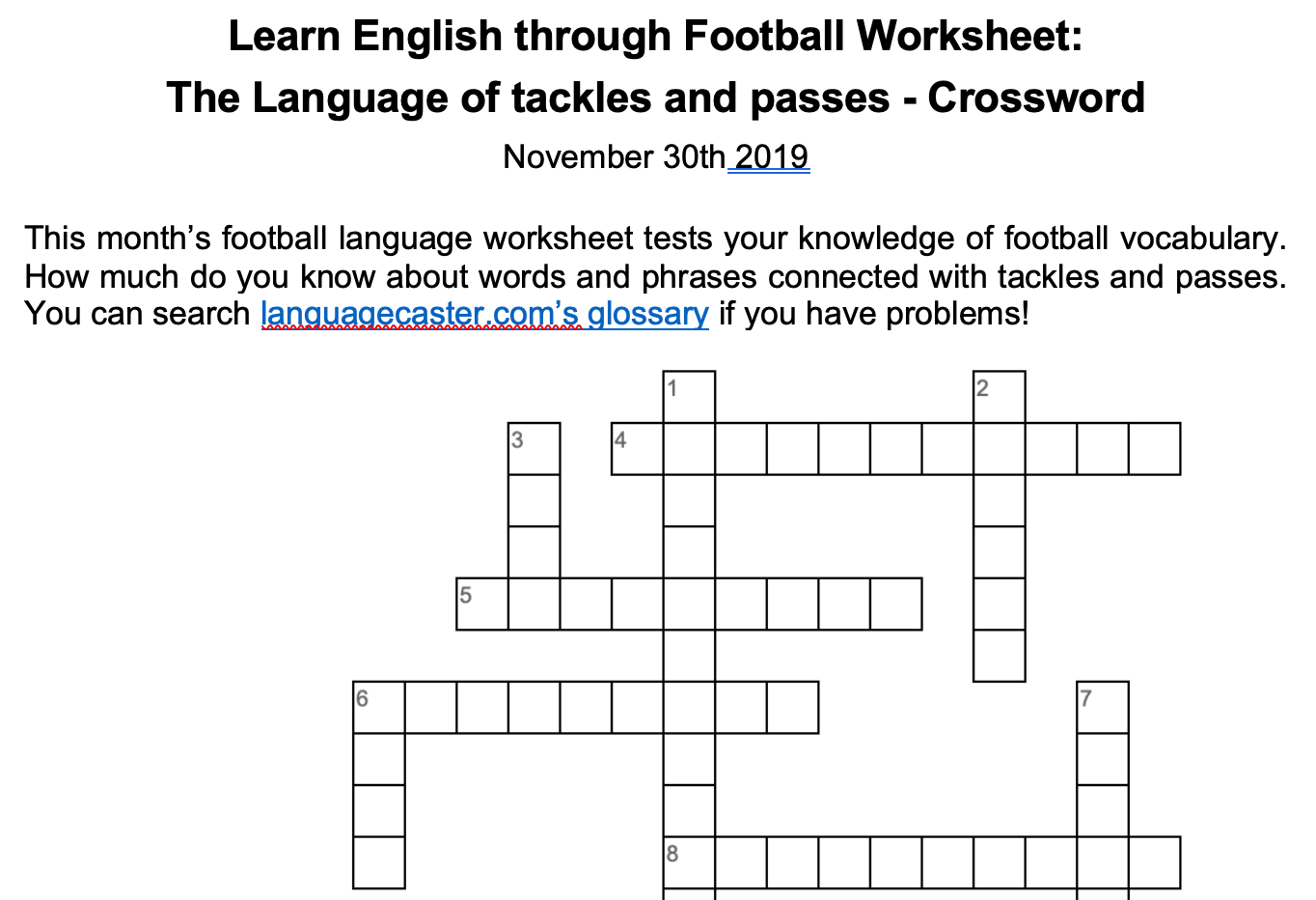 Football Language Crossword: The language of passing and tackling