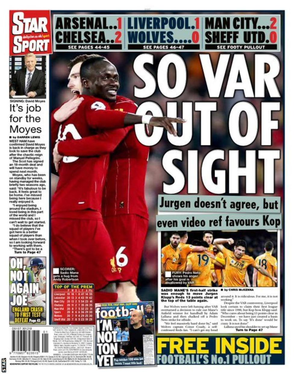 Newspaper Headline: So VAR Out Of Sight