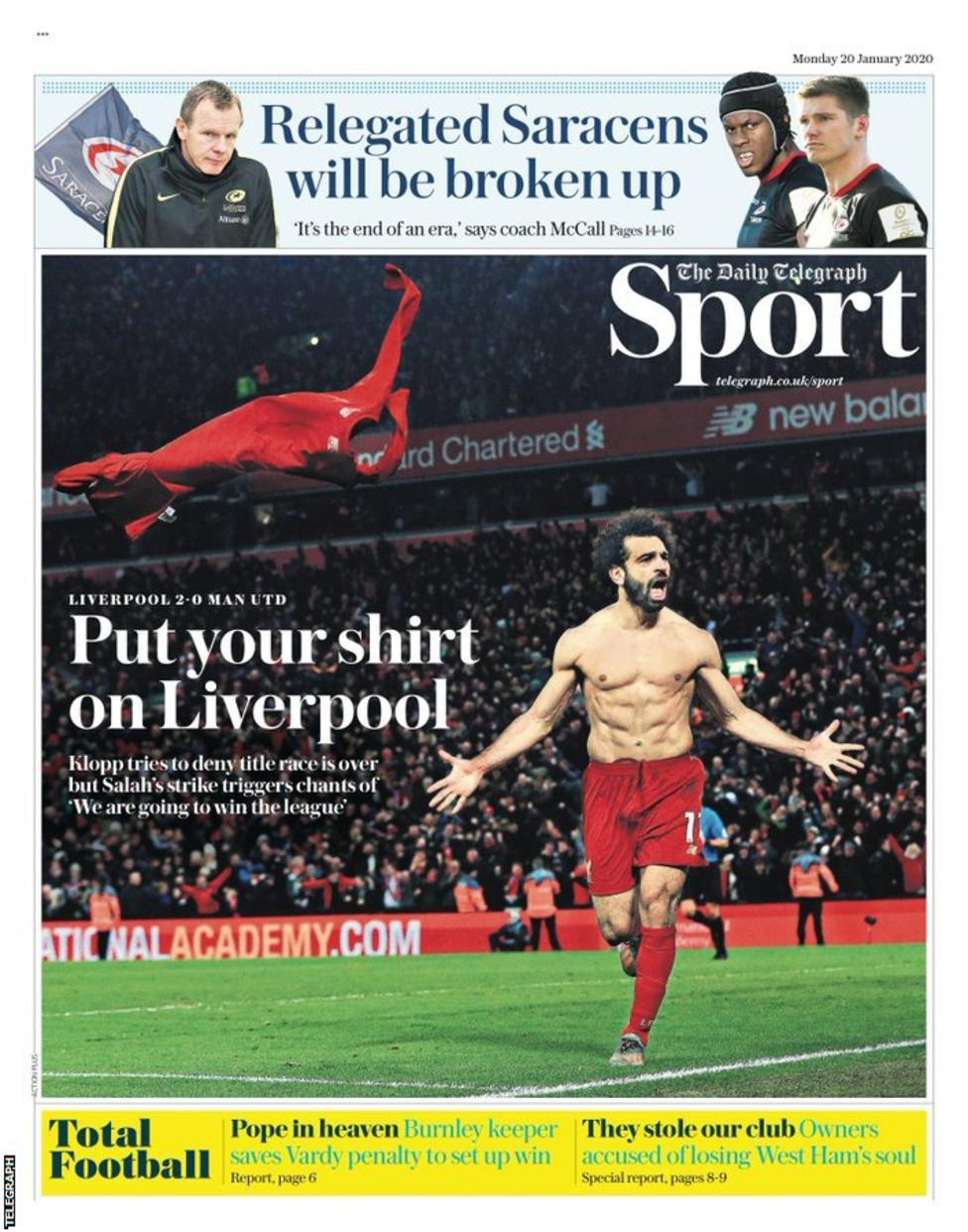 Newspaper Headline: Put your shirt on Liverpool