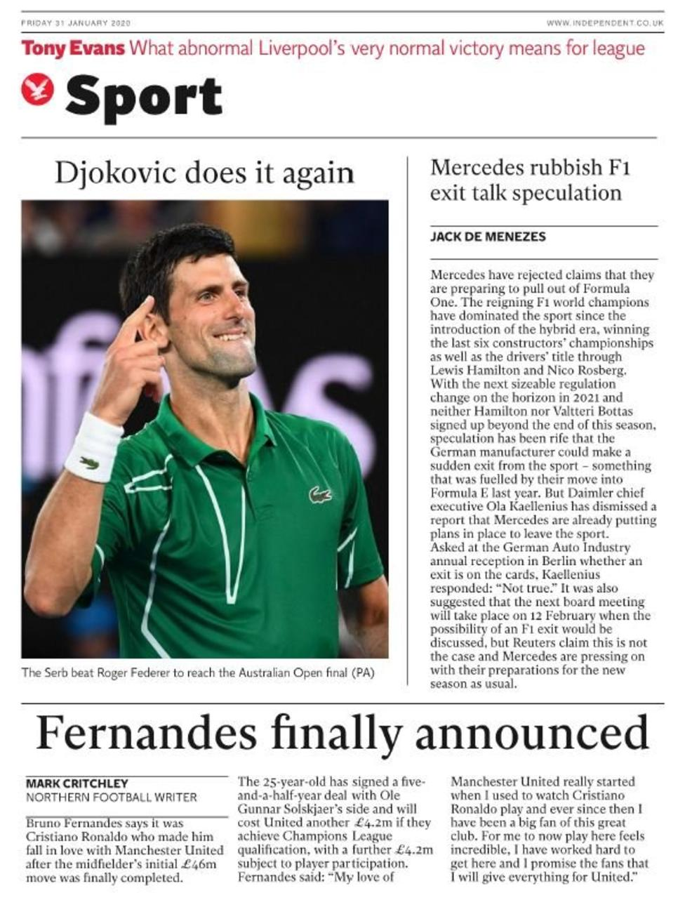 Newspaper Headline: Fernandes Finally Announced