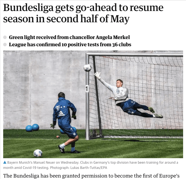 Newspaper Headline: Bundesliga gets go-ahead to resume season in second half of May