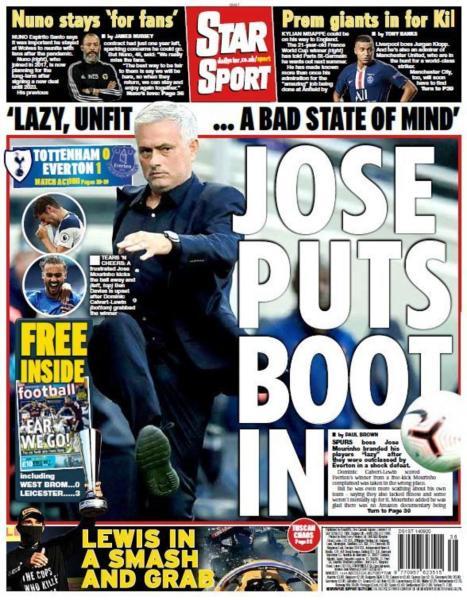 Newspaper Headline: Jose puts the boot in