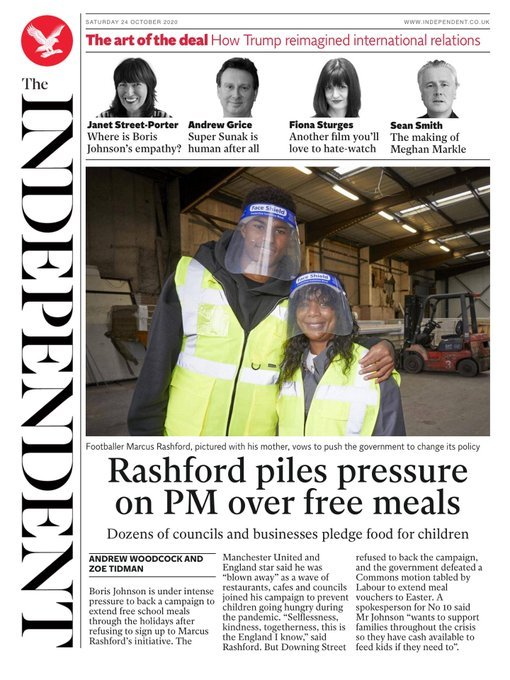 Newspaper Headline: Rashford Piles Pressure on PM over Free Meals