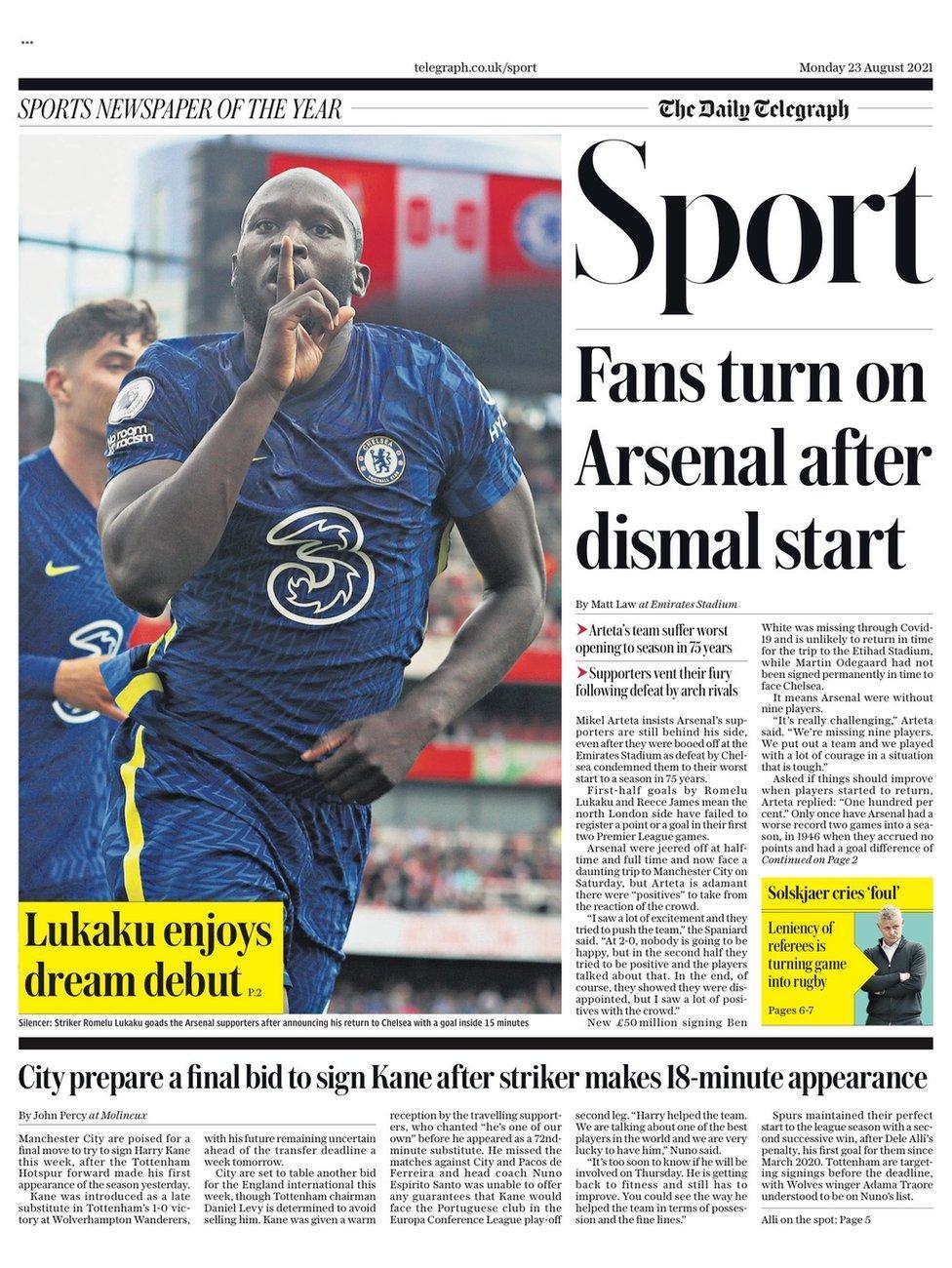 Football Newspaper Headlines: Fans Turn on Arsenal After Dismal Start