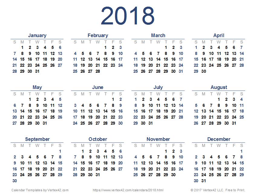 january 2018 calendar vertex