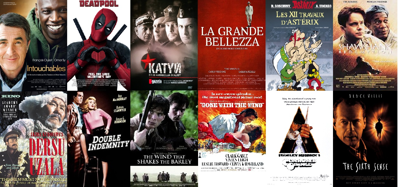 Watch our recommended movies free online. Including The Shawshank Redemption, Intouchables , ASTÉRIX LE GAULOIS, DERSU UZALA, LA GRANDE BELLEZZA , SPRING, SUMMER, FALL, WINTER AND SPRING, YOJIMBO , LES 12 TRAVAUX D'ASTÉRIX, THE WIND THAT SHAKES THE BARLEY, DEADPOOL. DEADPOOL, THE SIXTH SENSE , DOUBLE INDEMNITY . A CLOCKWORK ORANGE , LORD OF THE RINGS ANIMATED, A KID IN KING ARTHUR'S COURT, The Rescuers, dual subtitles, french, francais sous-titres, subtitles, italian, english