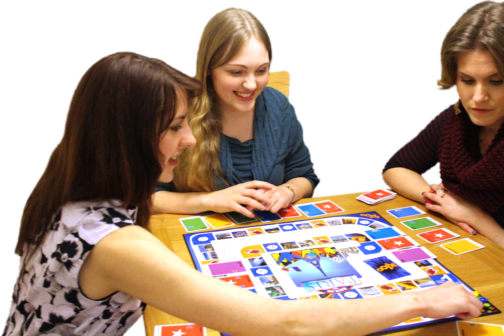 Research on how Games improve Language Learning in Classroom     View Larger Image Adults playing board game to learn French