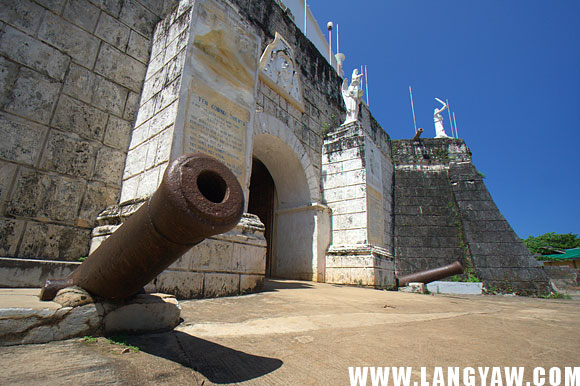 One of the canons that used to be mounted at the perimeter ready to engage the enemy is now cemented at the main portal.