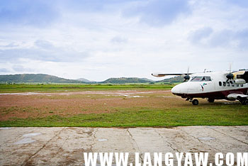 A Seair plane arrives at the Busuanga Airport