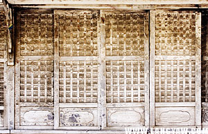 Detail of one of the windows of Villa Bayot. Translucent capiz shells form the square grids.