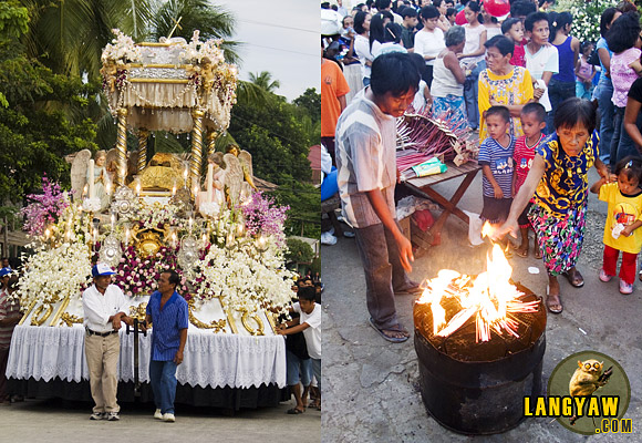 In Carcar, pomp and pageantry marks Semana Santa observance as ornately decorated carrozas, like this antique, life sized image of the Santo Intierro, left. This is also the time when people from the hinterlands go down for the procession and age old practices can be observed, right.