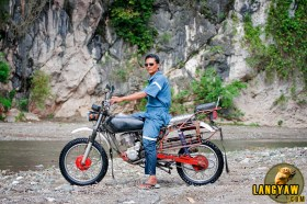 The habalhabal motorcycle I hired to reach Marmol Cliff. It's really built for the rough terrain and this driver knows the way quite well.