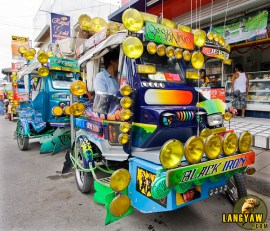 Tricycles decorated with nonfunctional lights