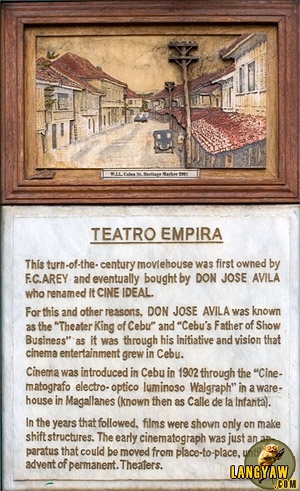 Heritage marker where Teatro Empira used to stand