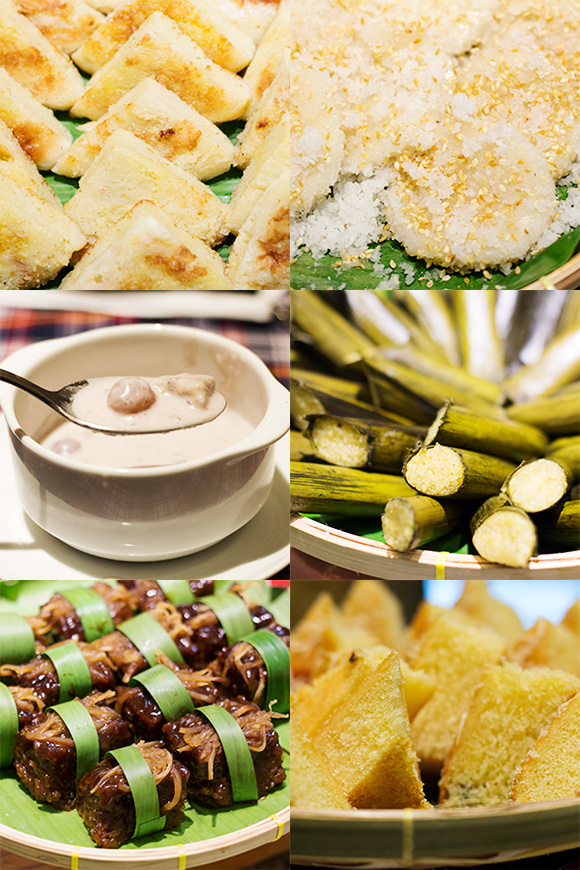 Cebuano delicacies and desserts: clockwise from upper right, palitaw, budbud kabug (probably from Catmon), torta from Argao, kunsilba, binignit, and bingka Mandaue style