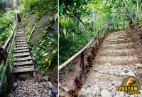 Getting to and from the waterfalls. The wooden ladder is really just around 3 meters long.