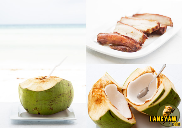 Refreshing buko and lechon kawali for lunch at the beach