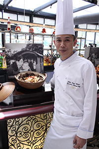 Executive Chinese Chef Mok Chee Wah: slow cooked chicken with Chinese herbs wrapped in lotus leaf