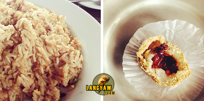 Left, diced chicken fried rice with abalone sauce; right, chocolate filled buchi
