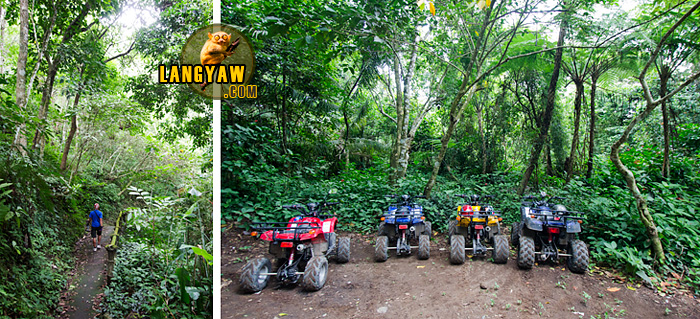 Riding ATVs to reach the jump off point to the waterfall