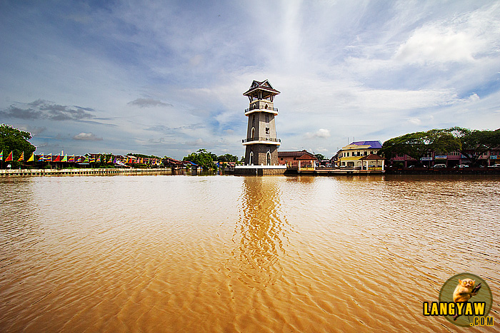 The scenic Dataran Tanjung Chali with its imposing tower as seen from the park across the river