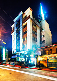 The hotel building at night