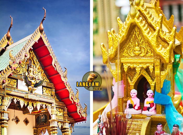 Left, detail of the pediment of the Wat;s front; Right, Buddhist altar near the Wat