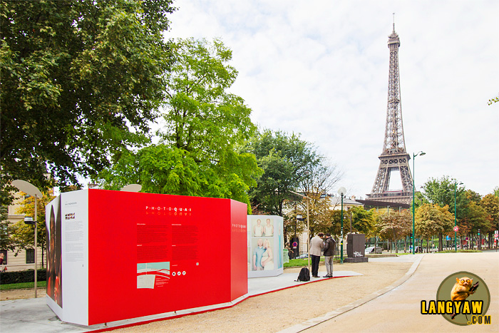 Eiffel Tower in the background of our photography exhibit