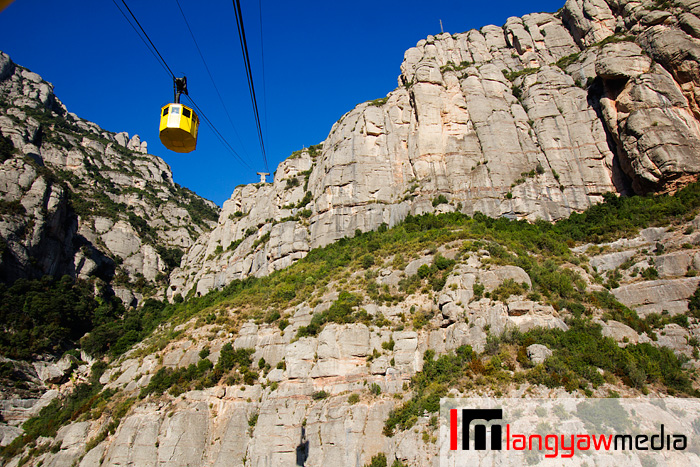 The  Aeri de Montserrat cable car going down Montserrat in Catalonia, Spain