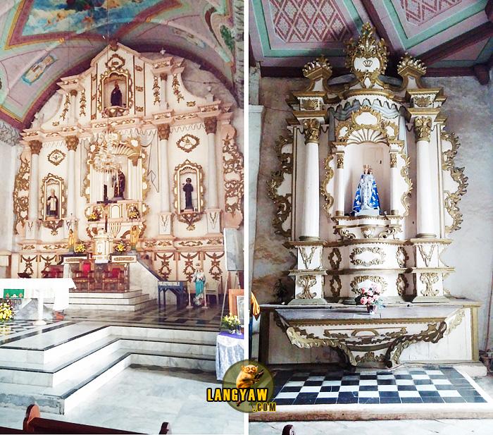 Left, retablo mayor; right, epistle side, side altar