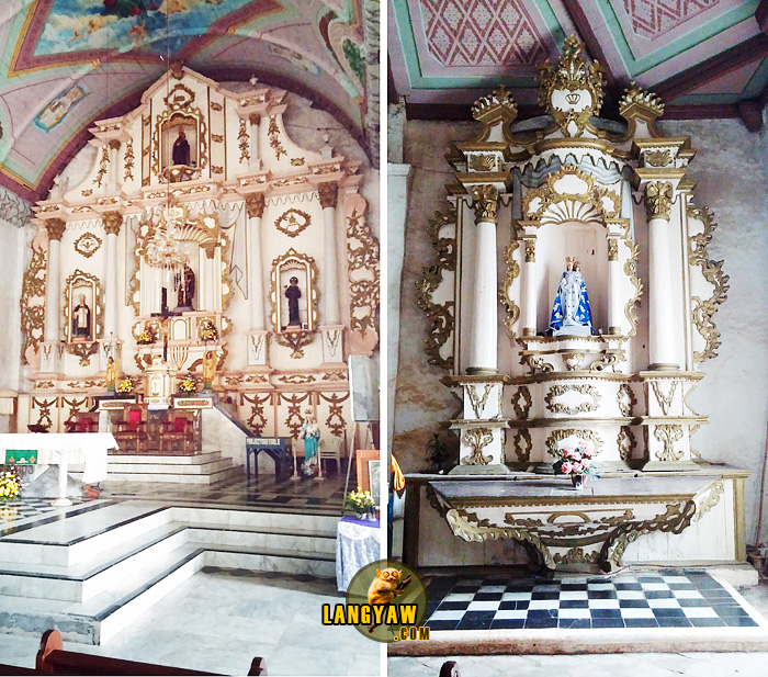 Left, retablo mayor; right, epistle side, side altar