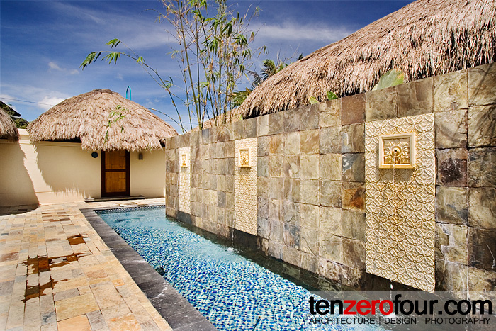 An inviting view that leads to the private open air massage cabanas