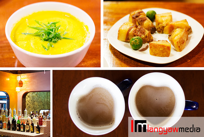 Soup, lechon kawali, bar drinks and coffee for two