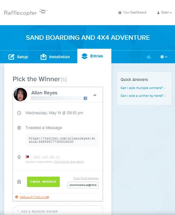 The contest winner as picked by Rafflecopter via Random.org.