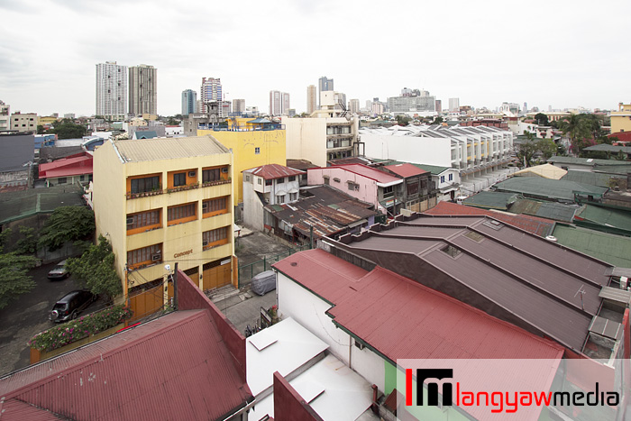 View from the window are residences and buildings