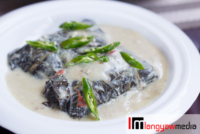 LINAPAY: pounded freshwater shrimp, young coconut meat and wrapped in taro leaves then cooked in gata