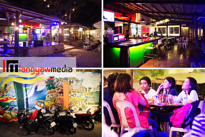 Clockwise from top left: At the counter and bar area of Bora Hut, patrons with drinks, colorful mural near the entrance and view of the bar area where DJs and singers perform