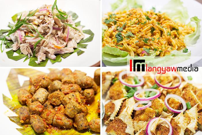 Clockwise from top right: mango with taba ng talangka (crab fat), crab relleno, fried chorizo with olive oil and chili garlic, kinilaw na langka sa gata