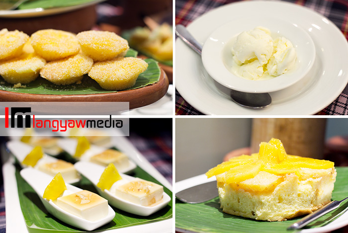 Clockwise from top right: sampaguita ice cream, pineapple upside down cake, pineapple pana cotta and muffins