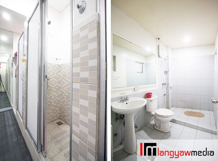 Two different types of toilets: cubicle type with separate showers, left, and spacious toilets, right
