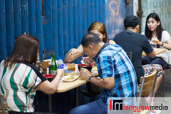 Patrons eating