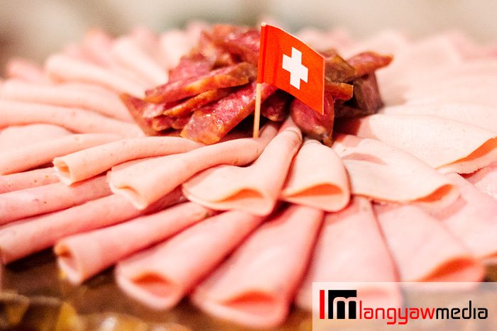 Swiss cold cuts topped with landjaeger which is semi-dried sausage that is a popular snack