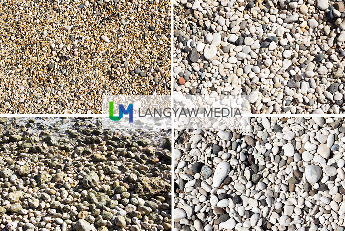 Different sizes and colors of pebbles in Minalabac's coastline