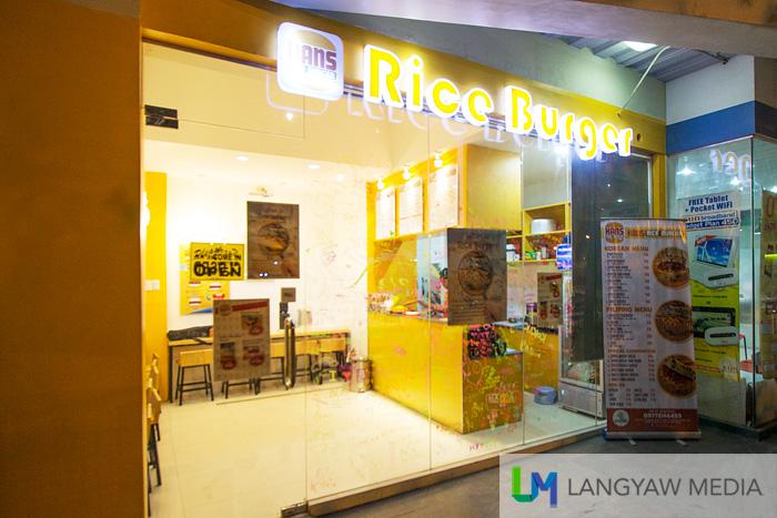 The ubiquitous rice burger joint, warmly lit