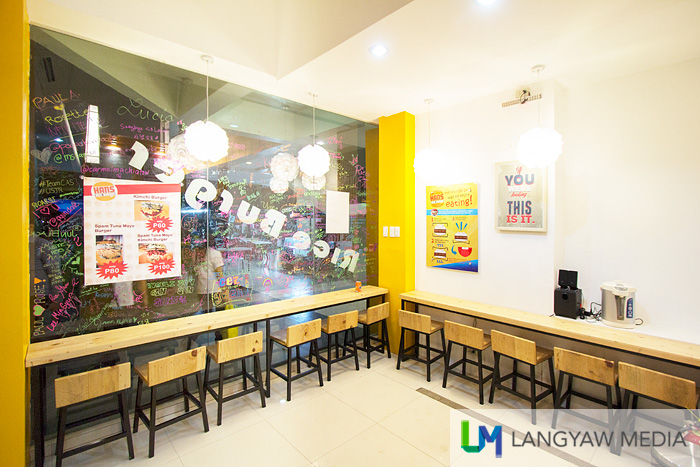 Interior of the rice burger joint