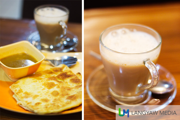 Roti tulul, left; tea tarikh, right