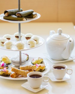Cafe Laguna's three tier Filipino high tea served with pandan tea