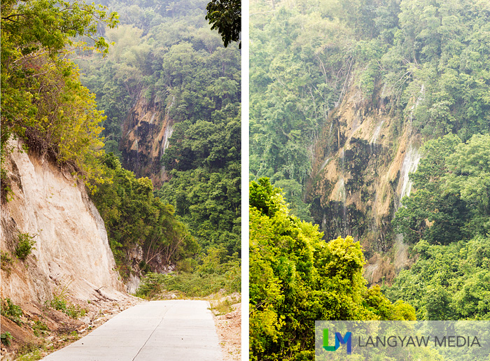 Left, steep road going down with a view of Tumalog Falls; right, closer view of the waterfall as seen from the road