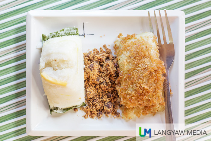 Native desserts at the Busy Bee branch: suman or native rice cake and puto cheese